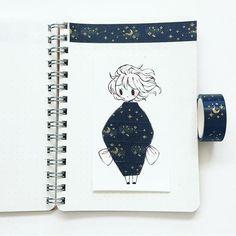 Washi tape drawings bullet journal in 2019 Amazing Drawings, Beautiful Drawings, Amazing Art, Kawaii Drawings, Cute Drawings, Washi Tape, Illustrations, Illustration Art, Chibi Kawaii