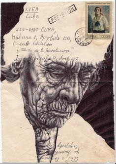 markpowellartist:    Bic Biro drawing on 1972 envelope.