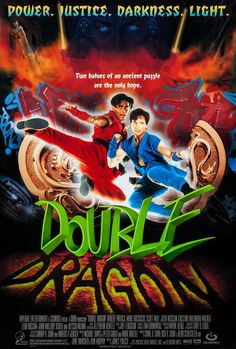Official theatrical movie poster for Double Dragon Directed by James Yukich. Scott Wolf, Dragon Movies, Dragon Star, Video Game Movies, Classic Video Games, Original Movie Posters, Two Brothers, Vintage Movies, Martial Arts