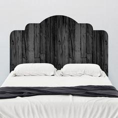Wall Decals - Black Stained Wood Adhesive Headboard | Wallsneedlove