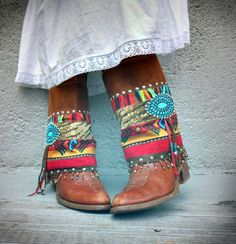 Rita Rancho Tribal Boot cuffs by LotusRootsCreations on Etsy, $72.00