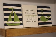 Nautical nursery painting sailboat whale by JessieAnnCreations, $50.00