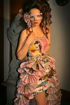 SHADES OF PINK - trashing fashion show at Aveda Institute Minneapolis! Best in show, designed by Breanna T. This is a dress made out of paper!  That's right..  Paper dress,  news paper,  magazine paper,  and paper bag!  News paper dip dyed in pink for breast cancer awareness month!