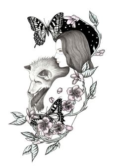 belos desenhos de Andrea Hrnjak Cosmic Love Art, drawings, paintings, illustrations Wolf Girl Tattoos, Victorian Tattoo, Art Sketches, Art Drawings, Spiritual Animal, Creepy Images, Native American Artwork, Wolf Tattoo Design, Boy Drawing