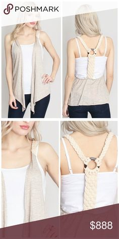Back braided vest Racer back braided vest in taupe. Awesome piece for spring and summer! 75% polyester, 20% rayon, 5% spandex. Made in USA. Unity Blend Tops Tank Tops