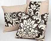 BBJ SET OF 3 Chocolate Brown & Sand Damask Decorative Accent/Throw Pillow Sham 18x18