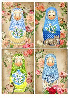 Babushka Matryoshka doll cat card set of 4 Russian Nesting Dolls. Printable matrioshka image digital download 417