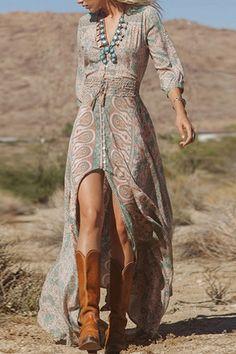 Vintage Printing Elastic Waist Slit Dress - OASAP.com