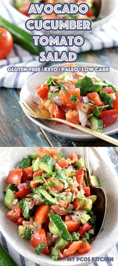 Low Carb Paleo Avocado Cucumber Tomato Salad - My PCOS Kitchen - A delicious sugar-free and gluten-free salad with a zesty cilantro dressing! The perfect keto side salad! #keto #paleo #avocado #salad #lowcarb #lchf Salad Recipes Low Carb, Lunch Recipes, Paleo Recipes, Sugar Free Recipes Dinner, Salad Dressing Recipes, Cilantro Dressing, Gluten Free Salad Dressing, Low Carb Salad Dressing, Low Carb Paleo