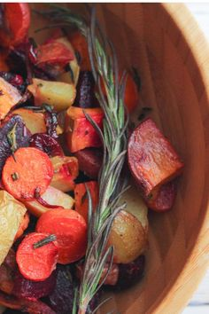 These roasted root vegetables are the perfect fall comfort food. They're super easy to make, hearty, nutritious, and the perfect pop of color to your table this autumn. Add a spring of rosemary to each serving to turn an already gorgeous meal into an Instagram-worthy one.   #Vegan #GlutenFree