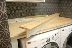 "See our internet site for more info on ""laundry room storage diy shelves"". It is a superb area to learn more. room storage shelves DIY built in washer + dryer - Crazy Wonderful Laundry Room Countertop, Laundry Room Shelves, Laundry Room Remodel, Laundry Closet, Laundry Room Organization, Laundry Room Design, Laundry In Bathroom, Storage Organization, Laundry Rooms"