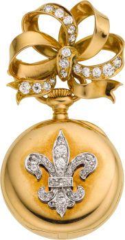 Tiffany & Co. Gold & Diamond Miniature Pendant Watch & Pin, circa 1910. ...