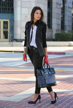 Leather jacket and pants with gorgeous blue heels and loving the pop of red leather gloves!!
