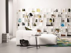 Boconcept Danish style is often monochrome with pops of colour exactly. Boconcept, Living Room Wall Units, Living Room Interior, Furniture Decor, Furniture Design, Mad About The House, Bookcase Wall, Bookshelves, Declutter Your Home