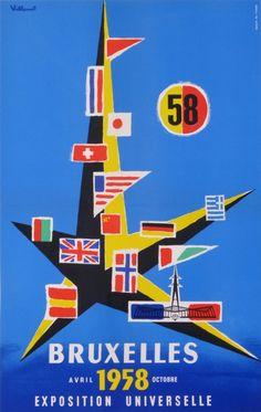 exposition universelle de bruxelles 1958-atomium : 1958 affiches anciennes de VILLEMOT Bernard