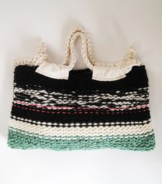 "KNIT BAG ""STELLA"" / WOOL/BLK MIX"