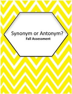 I used this as an assessment to help my students determine if a pair of words were synonym or antonym pairs. It is designed to be a two-sided worksheet.