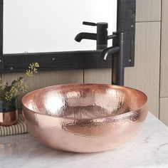 Maestro Round Bathroom Sink in Polished Copper (CPS463)