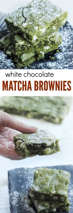 White Chocolate Matcha (Green Tea) Brownies Recipe - Couple Eats Food : A delicious, ooey gooey matcha (green tea) brownies with white chocolate chips! A perfect Asian fusion recipe that will satisfy your sweet cravings! Healthy Vegan Dessert, Vegan Desserts, Dessert Recipes, Alcoholic Desserts, Green Desserts, Strawberry Desserts, Dessert Bars, Healthy Food, Healthy Recipes