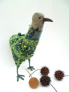 Green bird I fiber art soft sculpture by Cesart64 on Etsy