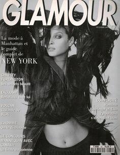 French Glamour December 1993 / January 1994 :  Christy Turlington by Mario Testino Sacree Christy Model: Christy Turlington Ph: Mario Testino Stylist: Carine Roitfeld