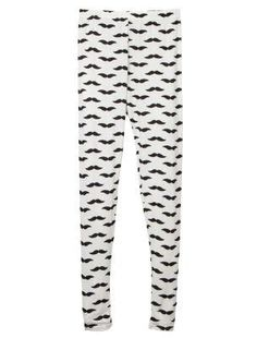 I would totally rock these out around the house...  Mustache Print Leggings