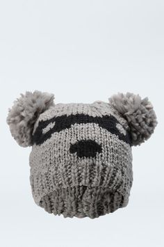 """Grey Knitted """"Panda"""" Hat #TALLYWEiJL #new #collection"""