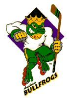 Anaheim BullFrogs - RHI - 1994...There's something about Roller Hockey that consistently produces the worst logos. Anaheim really kept with the duckpond/hockey theme that they were building with the Mighty Ducks when they came up with Bullfrogs' logo. The crown and the brass knuckles somehow work against each other. What kind of royalty executes its own dirty work?