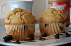 Peanut Butter Chocolate Chip Muffins  http://www.amazon.com/gp/search/ref=as_li_qf_sp_sr_tl?ie=UTF8&camp=1789&creative=9325&index=aps&keywords=kitchenaid+stand+mixer+red&linkCode=ur2&tag=robprod-20