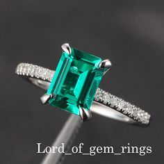 6x8mm Emerald Engagement Ring & Diamond Shank in 14K by TheLOGR, $299.00