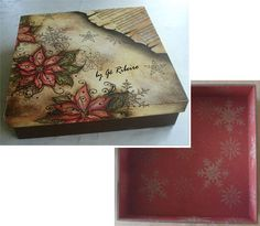 Store beloved photographs in style in this elegant keepsake box decorated with poinsettias and sheet music.