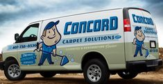 Retro themed logo and truck wrap for a carpet cleaning company in FL.