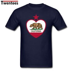 Exercise Round Neck Organic Cotton California Bear Flag Heart Star Casual T Shirt Men Big Size Black T Shirt #Affiliate