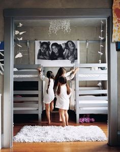 Love to see shared rooms! I awlays wanted a sister to share a room with! Now my girls share one (whether they like it or not, lol) I think it's awesome!