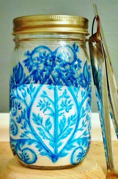A Blue Patterned Mason Jar holds all your kitchen or craft supplies | Ball Jar