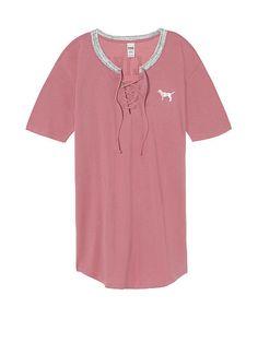 Lace Up Sleep Shirt PINK