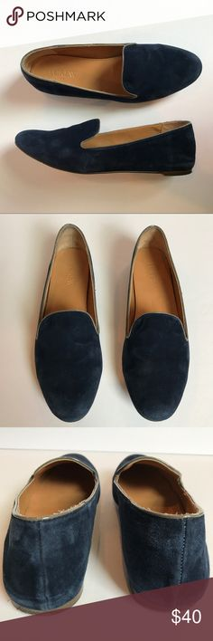 J. Crew Factory Suede Flats Loafers Navy Blue These flats/loafers from J. Crew factory are in good used condition.  Navy blue suede, leather upper.  Excellent interior condition.  Slight wear on the suede (like it's been crushed or something rubbed against it).   Size 7.  From a smoke free, pet friendly home. J. Crew Factory Shoes Flats & Loafers