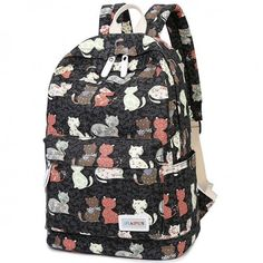 I am so happy to find the Cartoon Cat Flower Travel Rucksack Kitten Animal School Canvas Backpack  from ByGoods.com. I like it <3!Do you like it,too?