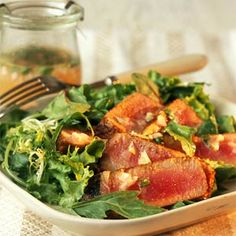 Seared Tuna on Mixed Greens with Cilantro-Lime Vinaigrette - 15 Ways With Lime - Coastal Living Lime Vinaigrette Salad Dressing, Cilantro Lime Vinaigrette, Vinaigrette Recipe, Salad Dressings, Lime Dressing, Dressing Recipe, Seared Tuna Salad, Grilled Tuna, Seared Ahi