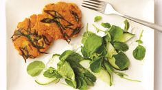 Inspired by falafel, these cakes are made from a puree of raw red lentils, harissa, and scallions.