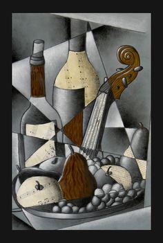 Cubist, value, mixed media