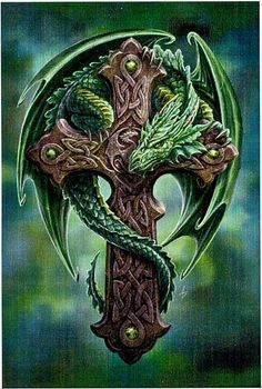 Woodland Guardian Cross Stitch Pattern - Fiercely protective dragonling coils around an intricately carved Celtic cross, daring anyone to disturb the peace of his forest home. Based on artwork by Anne Stokes. Stitch count is 350 wide by 525 high.