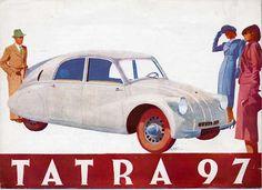Tatra 97 Retro Cars, Vintage Cars, Moto Car, Car Advertising, Car Drawings, Automotive Art, Car Painting, Vintage Advertisements, Car Accessories