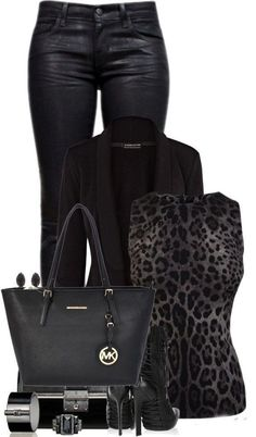 Very chic and sleek i love this Michael Kors Bag, leather pants, black jacket , shoes , ladies outfit. Komplette Outfits, Winter Outfits, Casual Outfits, Fashion Outfits, Womens Fashion, Fashion Trends, Winter Dresses, Mode Rockabilly, Looks Black
