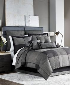 Croscill Oden Bedding Collection $27.99 Turn any room into a modern masterpiece with the cool charcoal and gray tones of the Oden bedding collection from Croscill, featuring a quilt-inspired patchwork grid enhanced with stylish stripes and subtle geo patterns.