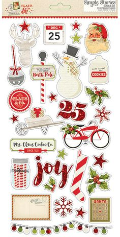 Pre-Order > Simple Stories > Claus & Co Chipboard Stickers - Simple Stories - PRE ORDER: A Cherry On Top