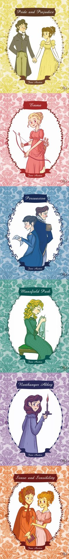 Illustrations for Jane Austen's classical novels.  By ChihAriel