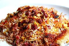 Persian Sour Cherry Saffron Rice - we have 2 sour cherry trees on the ranch, may have to try this Iranian Cuisine, Iranian Food, Kitchen Recipes, Cooking Recipes, Indian Food Recipes, Vegetarian Recipes, Persian Rice, Saffron Rice, Arabic Food