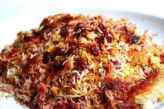 Persian Sour Cherry Saffron Rice (Polow) ~ http://steamykitchen.com