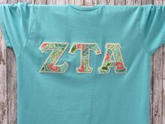 scuba blue short sleeve sorority double stitched letters shirt by mainstreetsorority on etsy